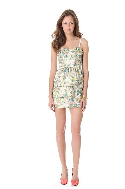Between the bustier-style bodice, the tiered skirt, and the sweet floral print, this Alice + Olivia floral dress ($396) has a perfectly femme and flirty feel.