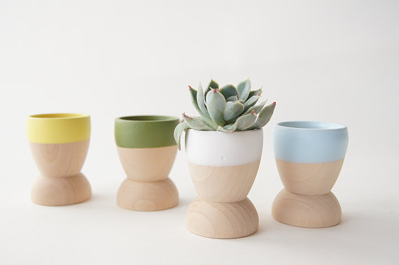 Borrowing their shape from little egg cups, these miniature planters ($29 for four) are perfect for succulents but would also be good for holding safety pins or earrings.
