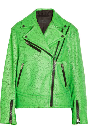 Rag & Bone Monaco Neon Cracked-Leather Biker Jacket