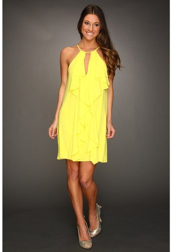 BCBGMAXAZRIA - Hattie Ruffle Halter Dress (Bright Chartreuse) - Apparel