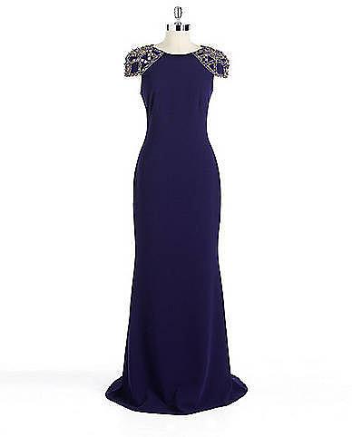 BADGLEY MISCHKA PLATINUM Embellished Cap-Sleeved Gown