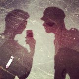 "Harry Shum teased the shadow of ""Gleeter Pan"" with Chris Colfer. Source: Instagram user harryshum"