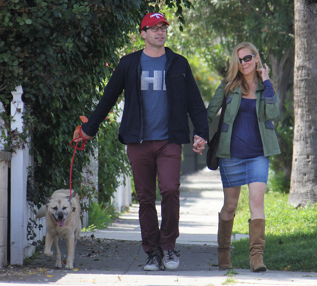 Jon Hamm and Jennifer Westfeldt smiled in LA while walking their dog.