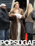 Jennifer Lawrence looked glamorous in a fur coat on set in Boston.