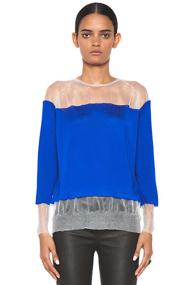 Check out all the cool textures on Stella McCartney's sheer cobalt sweater ($950).