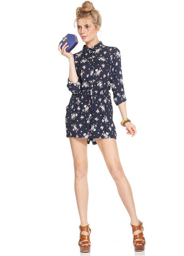 Bar III Romper, Long-Sleeve Floral-Print Drawstring-Waist