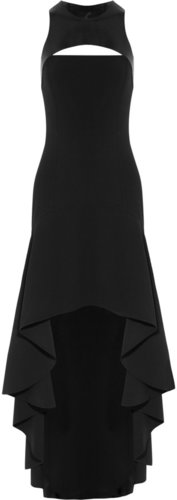 Michael Kors Stretch-wool crepe and leather harness gown