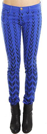 Current/Elliott Ankle Skinny Jean in Cobalt Chevron