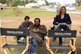 The stars of Revolution relaxed on the set. Source: Twitter user NBCRevolution