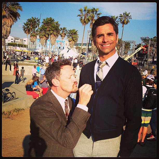 Matthew Lillard and John Stamos engaged in some questionable activity while filming I Am Victor. Source: Instagram user johnstamos