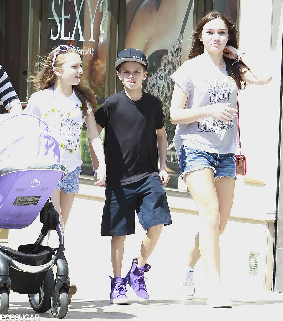 Romeo Beckham hung out with two female friends in LA.