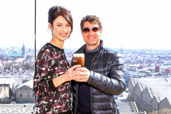 Tom Cruise and Olga Kurylenko posed with a beer in Ireland.