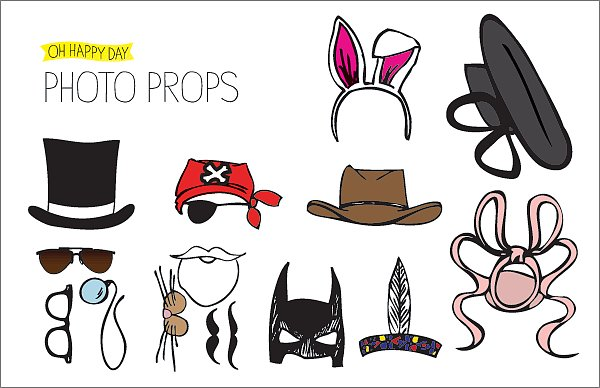 From the top hat to the Caped Crusader mask to the monocle to black-rimmed glasses, the possibilites for unlimited geekiness are endless thanks to this batch of printable photo booth props (free).