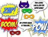 These printable superhero photo booth props ($12) will bring all the action to the party. All that's missing are a few capes.