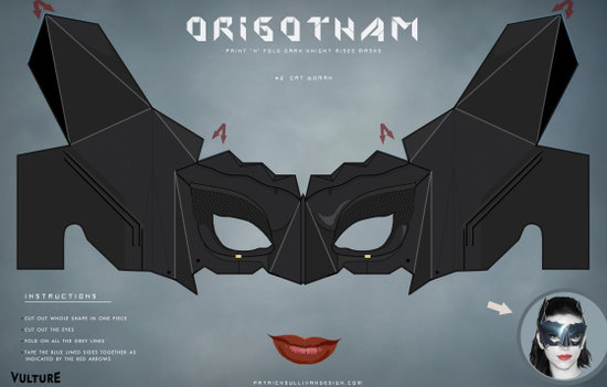 Characters from The Dark Knight Rises will have a very special place at your wedding with these printable Catwoman, Batman, and Bane masks (free).