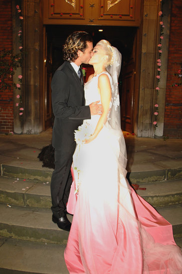 Gwen Stefani ditched all-white for a white-and-pink John Galliano for Christian Dior gown for her London nuptials to Gavin Rossdale in September 2002. We adore the ombré effect — so cool.