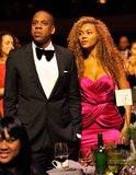 Beyoncé and Jay-Z dressed up for the Keep a Child Alive gala in NYC in September 2010. Jay kept it classic in a black tuxedo, while Beyoncé chose a bright, draped fuchsia dress.