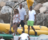 In September 2012, the couple wore their vacation gear while boarding a boat in the South of France. Beyoncé paired a printed blouse with shorts and Jay sported a white tee with neon green shorts.