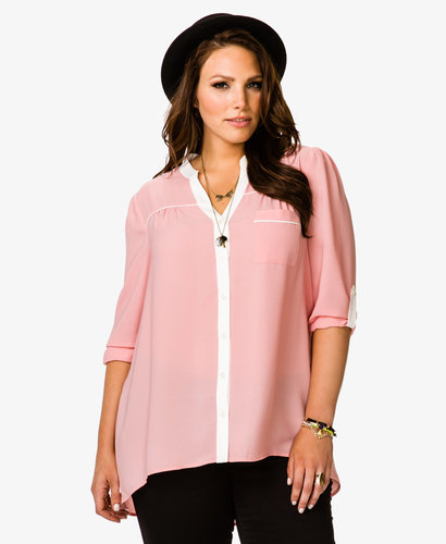 FOREVER 21+ Piping Chiffon Shirt