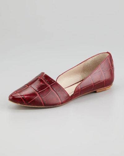 Elizabeth and James Merri Croc-Embossed d'Orsay Flat, Red
