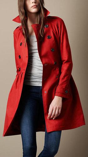 Mid-Length Cotton Poplin Gathered Skirt Trench Coat