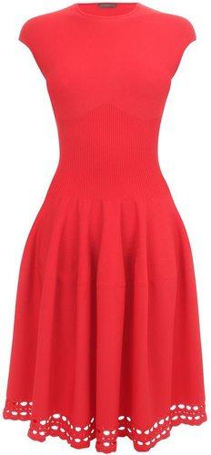 Red Corseted Waist Full Circle Dress