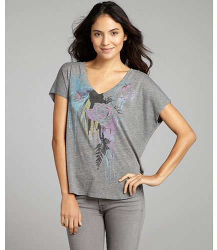 Chaser LA grey jersey sleeveless graphic v-neck t-shirt