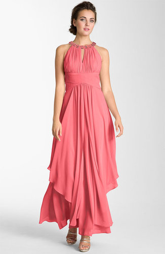 Eliza J Embellished Tiered Chiffon Halter Gown