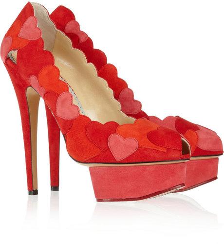 Charlotte Olympia Love Me heart-appliquéd suede pumps