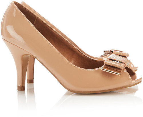 Nude Bow Peep Toe Court Shoe