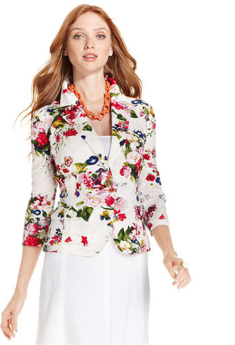NY Collection Jacket, Three-Quarter-Sleeve Floral-Print Linen-Blend Ruched Blazer