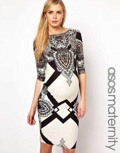 ASOS Maternity Midi Dress With Geo Scarf Print