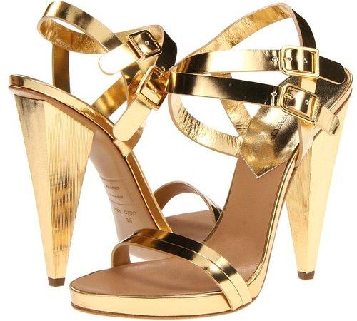 DSQUARED2 - S13C508100 74 Cindy Laminato Sandal (Specchio/Oro) - Footwear