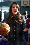 Kate Middleton handled a basketball during a visit to Glasgow.