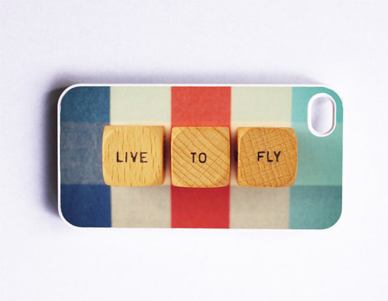 "Travel lovers will appreciate the meesage of the ""Live to fly"" iPhone 4/4S case ($41)."