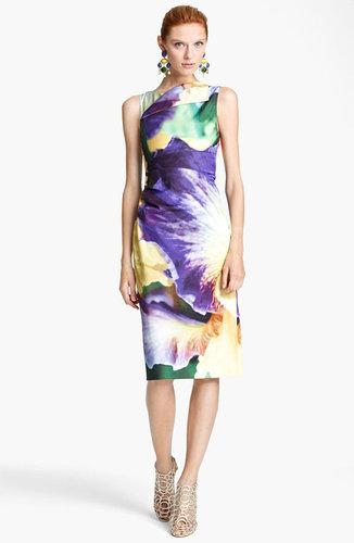Oscar de la Renta Iris Print Sheath Dress