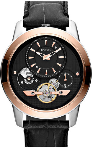 Fossil 'Twist' Leather Strap Watch, 44mm