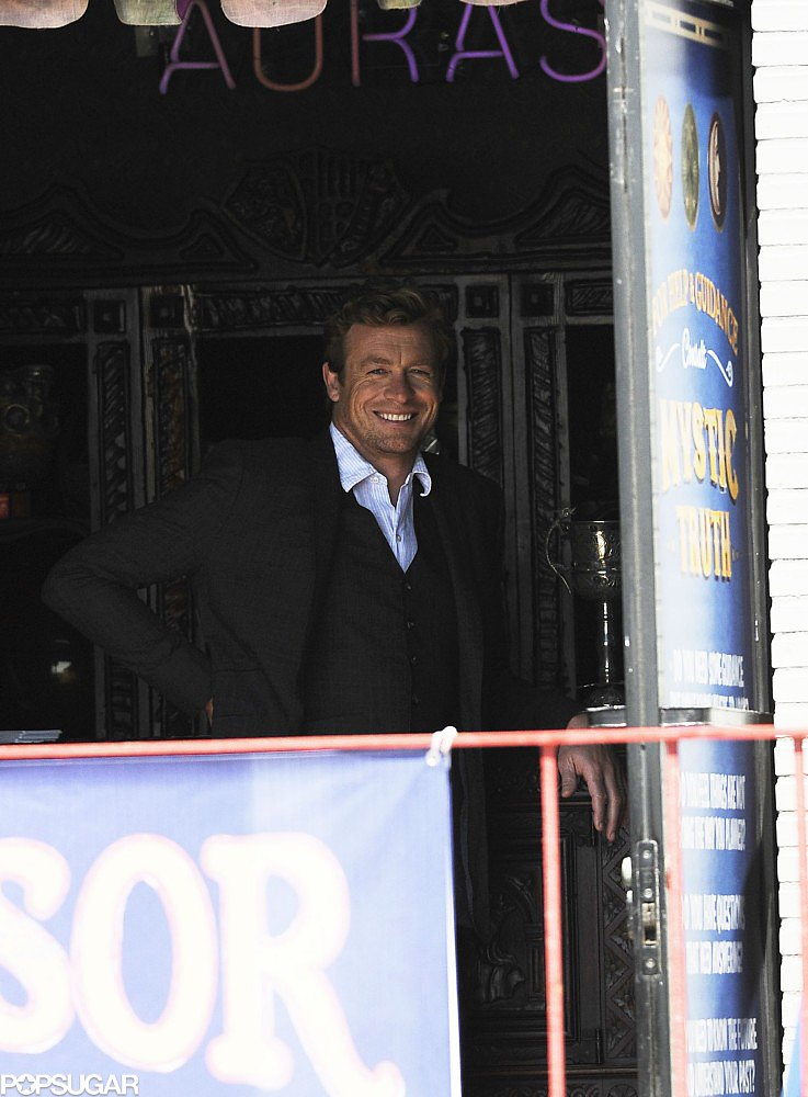 Simon Baker visited a psychic for a scene in The Mentalist in Venice Beach, CA, on Tuesday.