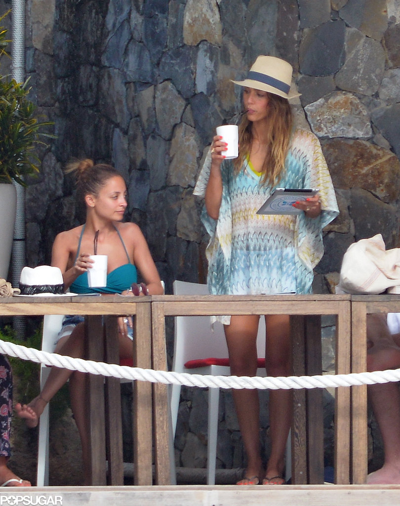 Nicole Richie and Jessica Alba sipped on drinks.