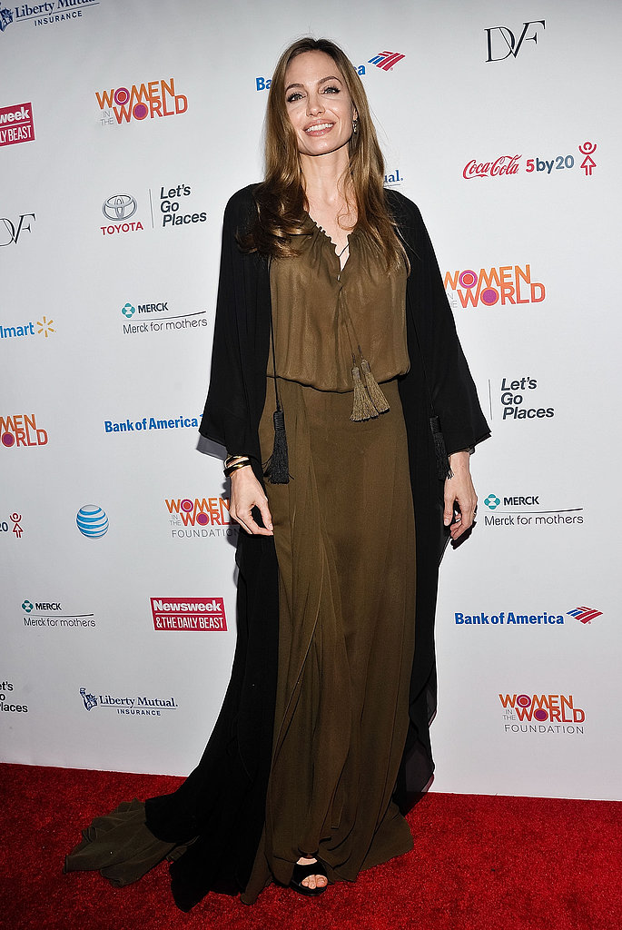 Angelina Jolie chose a Saint Laurent Spring '13 look — an olive-green caftan and sweeping black robe — for her appearance at the Women in the World Summit.