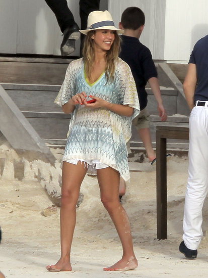 Jessica Alba was ready for a fashionable beach day in her zigzag Missoni caftan, white denim cutoffs, and Tory Burch grosgrain fedora. Shop similar Missoni cover-ups here.