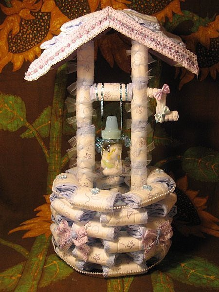 Wishing Well Diaper Cake
