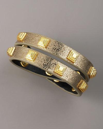 Tory Burch Studded Leather Bracelet, Gold