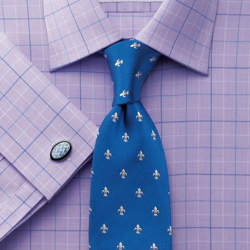 Lilac and blue check slim fit shirt