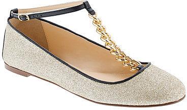 Glitter T-strap ballet flats