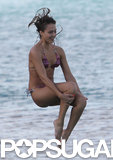 Jessica Alba tried out her own cannonball in St. Barts.