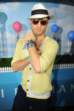 Ed Westwick sported sunglasses at night at Armani Exchange's Neon Carnival.  Photo courtesy of Seth Browarnik/WorldRedEye.com