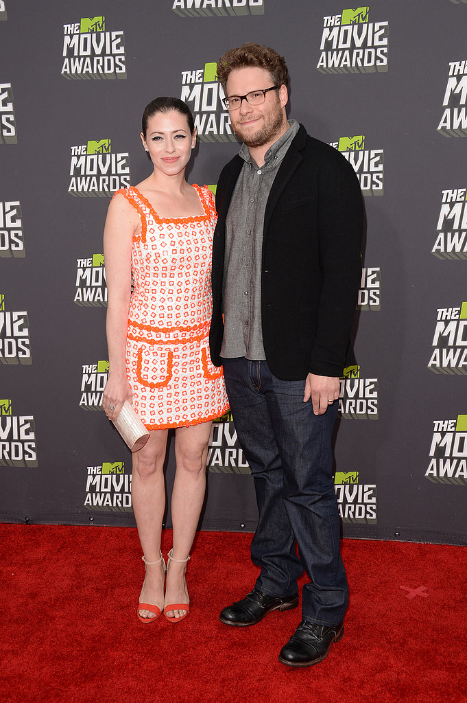 Seth Rogen and Lauren Miller hit the red carpet at the MTV Movie Awards together.