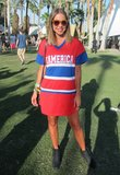 This Coachella attendee showed off her stripes in a jersey dress and ankle boots. Source: Chi Diem Chau