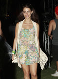 Jessica Lowndes topped her sweet floral dress with a crochet vest to give it that perfect concert kick.